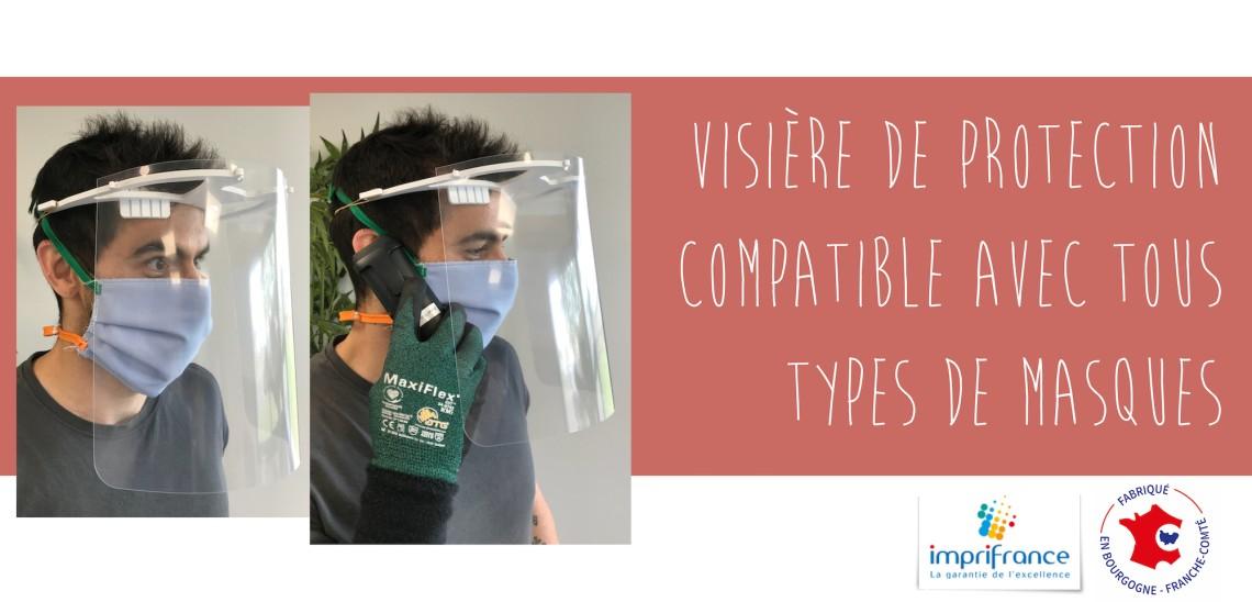Une visière de protection compatible avec tous types de masques